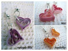 """Orecchini di carta (quilling) - modello """"cuore"""" / Paper earrings (quilling) - model """"heart"""""""