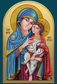 Our Lady Theotokos ink + colored pencil + markers + Digital painting Mark The Evangelist, Catholic Wallpaper, Church Icon, Images Of Christ, Christian Pictures, Jesus Painting, Mama Mary, Religious Paintings, Jesus Art