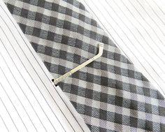 Hockey Stick Tie Clip Hockey Tie Bar Sterling by bellamantra, $22.00