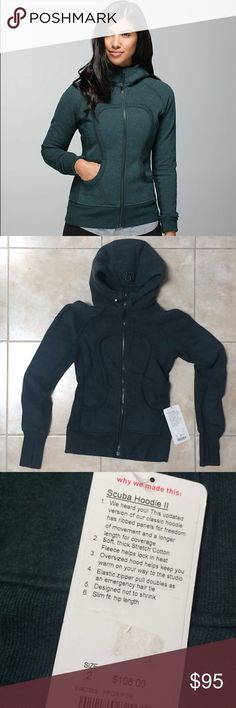 Lululemon Scuba Hoodie II size 2 NWT New with tags! Lululemon Scuba Hoodie II size 2. Hunter green color. Originally sold for $108, got it on sale for $98, selling for $95 lululemon athletica Tops Sweatshirts & Hoodies