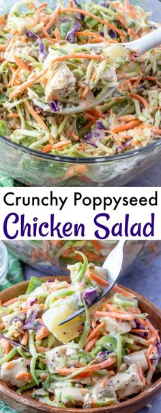 Crunchy Poppyseed Chicken Salad Recipe from Hot Eats and Cool Reads! This easy spring and summer salad is delicious, and perfect for any picnic, barbecue or lunch! Also great with turkey or ham if you're looking for ideas to use holiday leftovers!