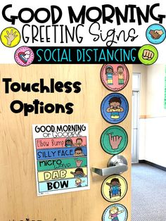 Post these morning greeting signs on your classroom door as teacher or a student greeter warmly welcomes classmates as students choose their morning greeting when entering the room.  You can also post them in any virtual classroom setting.