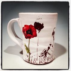 Poppy mug with glossy white glaze and red flowers by rothshank, $42.00