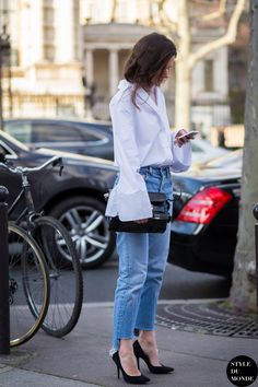 Acne white shirt & Levis. fab. #MartaCygan in Paris. #lifeofboheme  