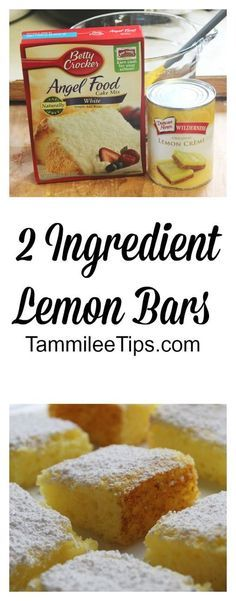 2 Ingredient Lemon Bars: Combine angel food cake and lemon pie filling, carefully mix together, the angel food cake mix is super light and will fly everywhere Pour into a pan Bake for 20 minutes at 350 degrees Top with powdered sugar as they are cooling Brownie Desserts, Desserts For A Crowd, Köstliche Desserts, Dessert Recipes, Easy Lemon Desserts, Easy To Make Deserts, Easy Diabetic Desserts, Summer Desserts, Dessert Simple
