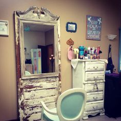 """SO IN LOVE WITH MY DISTRESSED OLD DOOR WITH AN OLD DISTRESSED DRESSER MIRROR AT MY STATION IN MY SALON IN COVINGTON, TN. .......BELLA LA VITA SALON. This is no ORDINARY salon...... Definitely not """"cookie cutter"""". It's a very relaxing and welcoming place where clients just come to visit and have a cup of Coffee. I love my career!!!"""