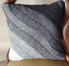 Harris Tweed Patchwork Pillow Cover, cottage craft, Outer Hebrides, vintage, 16 inches, gray tweeds, reserved for Julia