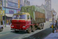 """1962 Scammell Routeman II """"Smiths """" Painting by Mike Jeffries Vintage Trucks, Old Trucks, Classic Trucks, Classic Cars, Transport Pictures, Old Lorries, Road Transport, Truck Art, Motorcycle Art"""