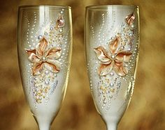 Wedding glasses Champagne Glasses Glasses Rustic por shopKristi