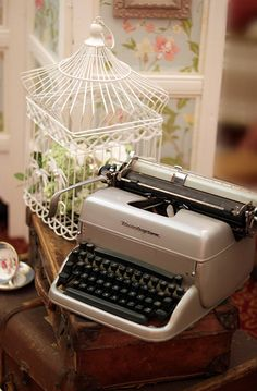 Vintage Bird Cage and Typewriter by saddleworthshindigs on flickr
