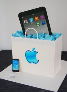 One of my favorite groom's cakes ever!  Solid chocolate iPad, the bag is all cake, and the iPod is all frosting! shopping bags, ipad cake, ipod, honeymoon destinations, apples, groom cake, first dance songs, apple cakes, birthday cakes