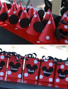 Minnie hats and favor bags- use while circle stickers to decorate red paper/ paper bags - Pinner: I am totally doing this for my daughter's next bday party.  Very Cute!!!!!