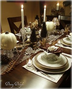White Pumpkins and Crystal by dining delight,   http://dining-delight.blogspot.ca/2012/10/white-pumpkins-and-crystal-for.html#