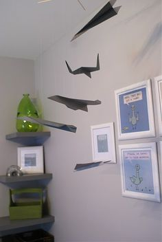 Love this idea for a paper airplane crib mobile for over a baby's crib