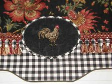 Custom Valance Curtain French Country Provence Red Gold Rooster Black
