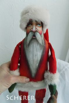 Folk Art Santa Claus with Bear Claus Christmas