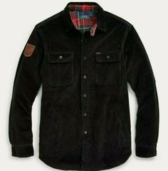 """Leather """"Ralph Lauren Polo"""" skier patch at the right sleeve. """"Polo"""" label at the left chest pocket. Downhill Ski, Denim Button Up, Button Up Shirts, Work Shirts, Shirt Jacket, Corduroy, Ranch, Polo Ralph Lauren, Barn"""