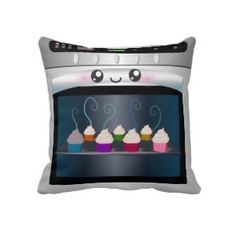 This Kawaii Happy Oven with cupcakes cushion Throw Pillow = The Cutest Cupcake Pillow Ever!