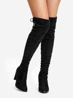 Suede Over The Knee Plain Boots Pitkävartiset Saappaat c5ec75fcb9