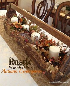 rustic wooden boxes for centerpieces Jenkins Kid Farm The Rustic Wooden Box Autumn Centerpiece Rustic Fall Decor, Fall Home Decor, Autumn Home, Country Decor, Wood Tool Box, Wooden Tool Boxes, Wood Boxes, Wooden Box Centerpiece, Table Centerpieces