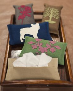 Purse Pack tissue cases.  I've seen these before, LOVE the idea of decorating them!