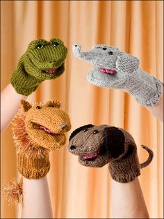 """Puppet Parade Knitting Pattern Download from e-PatternsCentral.com -- Little ones will love their new """"beast"""" friends."""