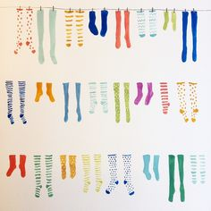 Painting socks today. Perhaps this will become a fun pattern? #gouache #illustratoriniceland #illustration #painting #socks #singlesock #oneofthesethingsisnotliketheother