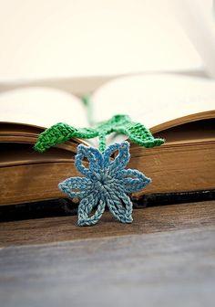 crocheted bookmark blue scilla flower