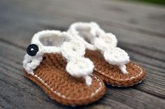 Hand Crochet Baby Booties - White Baby Sandals - 0-6 Month