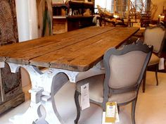 Rustic Dining Table. Top Natural Wood. Bottom Rustic White