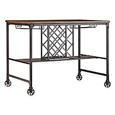 image of Verona Home Crown Oaks Counter Height Table with Wine Storage in Brown