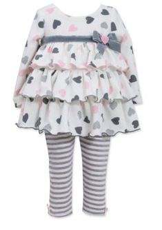 Bonnie Jean  2-Piece Heart Tunic and Legging Set Toddler Girls