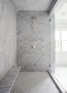 Shower bench on long wall. Gray Marble Slab Shower Surround with Long Floating Shower Bench, Transitional, Bathroom
