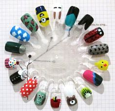 DIY nail art ideas. Also practice on nail extensions.