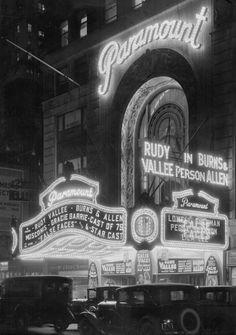 "nondescripthistory: "" Paramount Theatre on Broadway, New York, 1932. Samuel Herman "" Gotham's lights.."