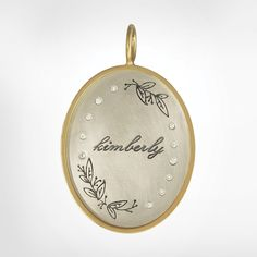 "Size 8 (15/16"" x 1 1/8""), white gold oval, yellow gold original frame, 1mm white diamonds, medium and large leaf spray stamps, ""Kimberly"""