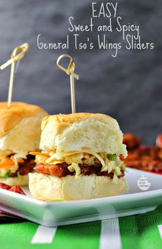 #AD Easy Sweet and Spicy General Tso's Wings Sliders   Renee's Kitchen Adventures Game day grub doesn't get any easier! @delianytime #GameTimeHero
