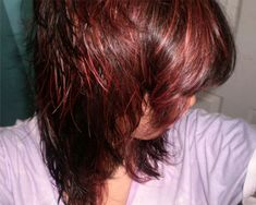 Dark Red Hair with Blonde Highlights and Lowlights | 35 Glamorous Dark Brown Hair With Highlights | CreativeFan
