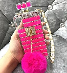 Losin Perfume Case Compatible with Samsung Galaxy Note 9 Luxury Bling Diamond Rhinestone Bow Perfume Bottle Furry Plush Ball Bling Glitter Gemstone Soft TPU Back Case with Lanyard Bling Phone Cases, Cute Phone Cases, Iphone Phone Cases, Iphone 7, Smartwatch, Cute Iphone Accessories, Adelaine Kane, Diy Gifts To Sell, Modelos Iphone
