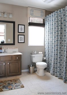 How To Make Any Curtain into a Shower Curtain & stool in the bathroom