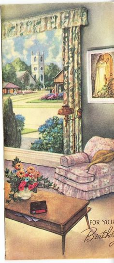 Vintage Looking Out Living Room Window Birthday Greeting Card Bible Verse