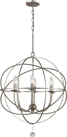 Crystorama 9225, 9226, 9228 Solaris Orb Chandelier -Wrought Iron handpainted Olde Silver chandelier accented with a clear glass ball  - Available in 3 sizes. Crystorama Solaris Collection - Brand Lighting Discount Lighting - Call Brand Lighting Sales 800-585-1285 to ask for your best price!