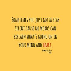 Sometimes you just gotta stay silent cause no words can explain whats going on in your mind and heart. #positivitynote #upliftingyourspirit