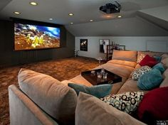 Contemporary Home Theater with Pottery Barn - Build Your Own - Pearce Sectional Components Everydaysuede, Carpet