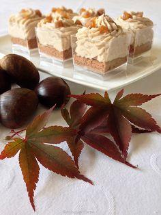 In viaggio in cucina: Trilogia di castagne in un piccolo bicchiere Chestnut Recipes, Christmas 2014, Mousse, Cheesecake, My Favorite Things, Mini, Desserts, Food, Buffet