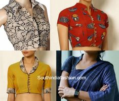 Collared Saree Blouses For The Win Collared blouses add just the right amount of sophistication and style to your ethnic ensemble. Blouse Designs High Neck, Fancy Blouse Designs, Kurti Neck Designs, Salwar Designs, Latest Saree Blouse Designs, Dress Designs, Saris, Kalamkari Blouse Designs, Kalamkari Blouses