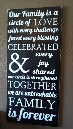Family is a Circle of Love... Primitive Wooden Subway Art Sign Wall Hanging. $39.00, via Etsy.