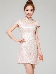 Pink Short Lace Qipao / Cheongsam / Bridesmaids Dress