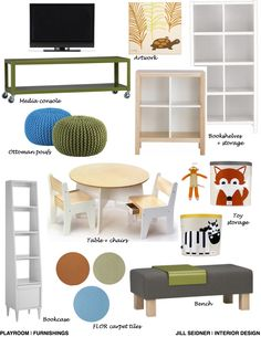 Campbell, CA Online Design Project Playroom Furnishings Concept Board.