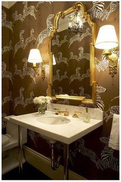 Brown Scalamandre Zebra + love the mirror
